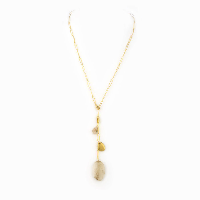 An adjustable 14k gold filled paperclip chain necklace with small brass river rock charms, small and large clear agate stones.