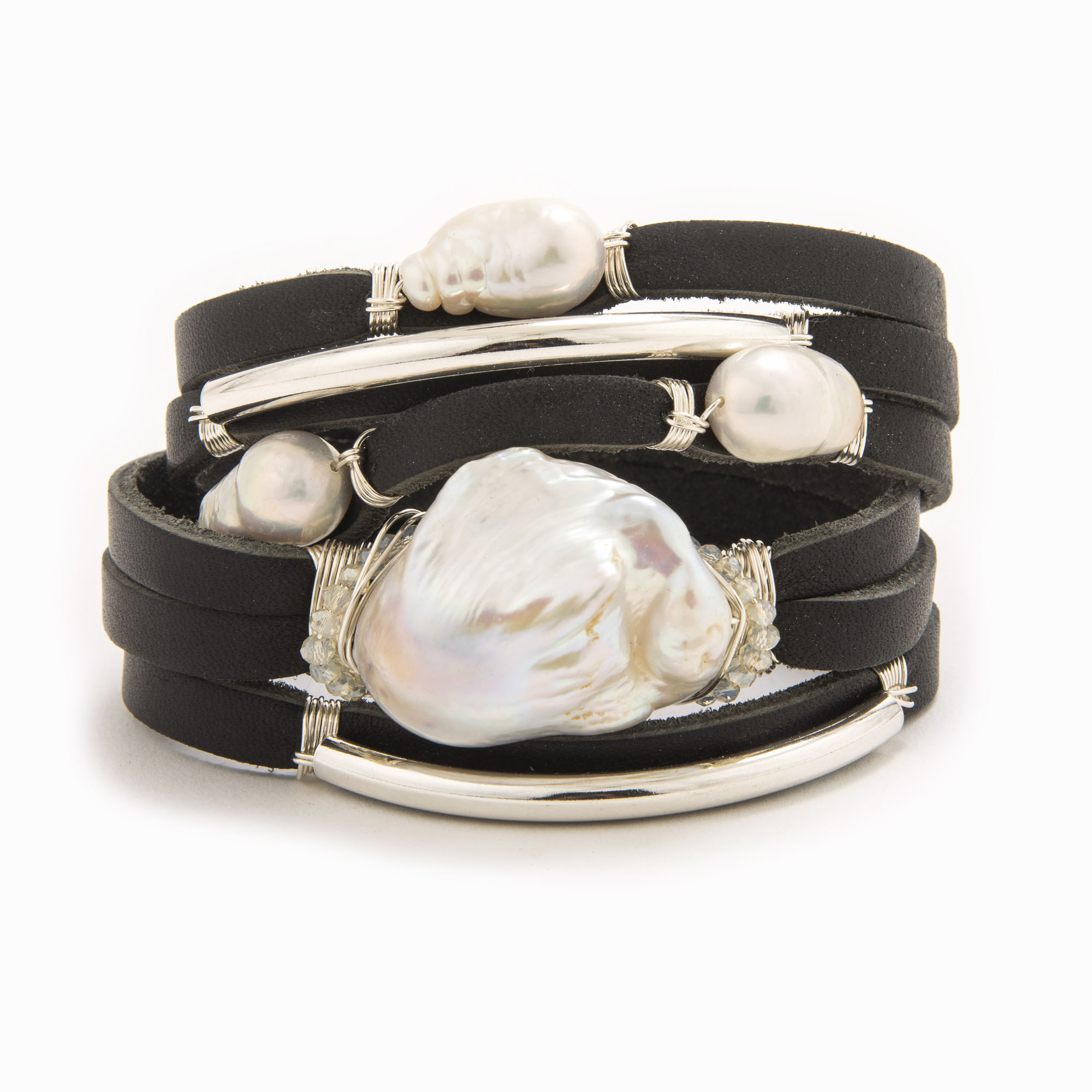A black-colored leather wrap bracelet with wire wrapped in sterling silver tubes with baroqoe and fresh water pearls.