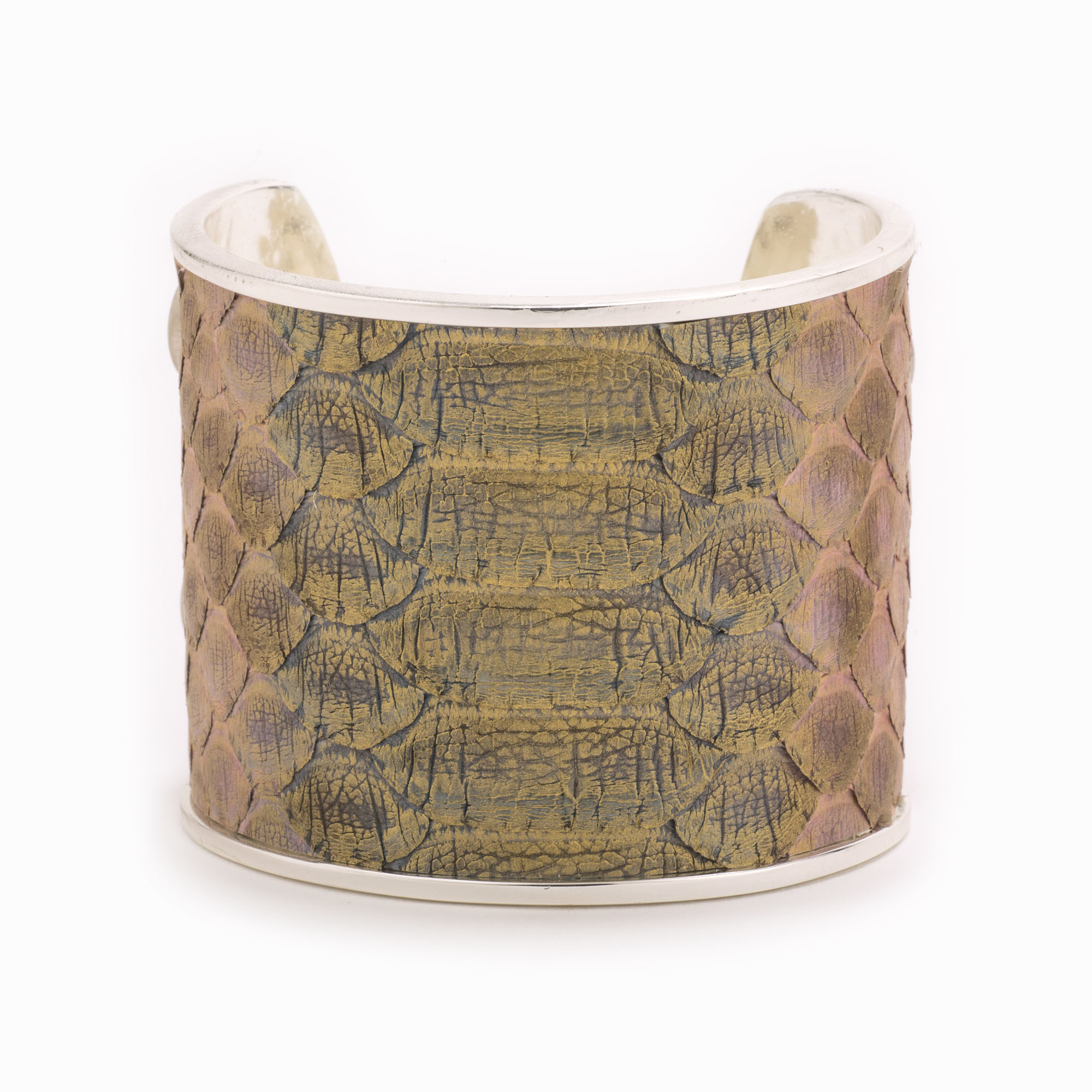 Large Blush Metallic Silver Cuff