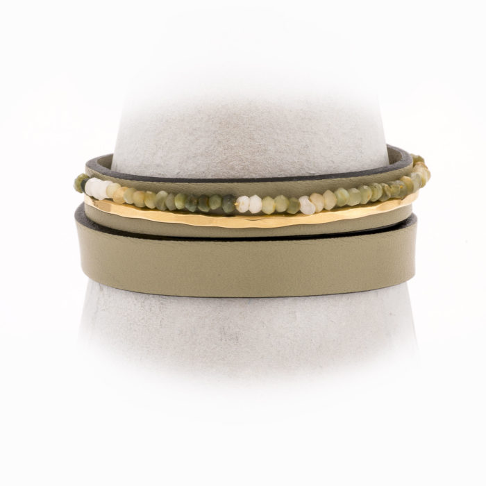 Front view of an adjustable, taupe leather wrap bracelet with 14k gold-filled wire and moss agate.