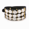 Black leather wrap bracelet with 14k gold filled wire and freshwater pearls.