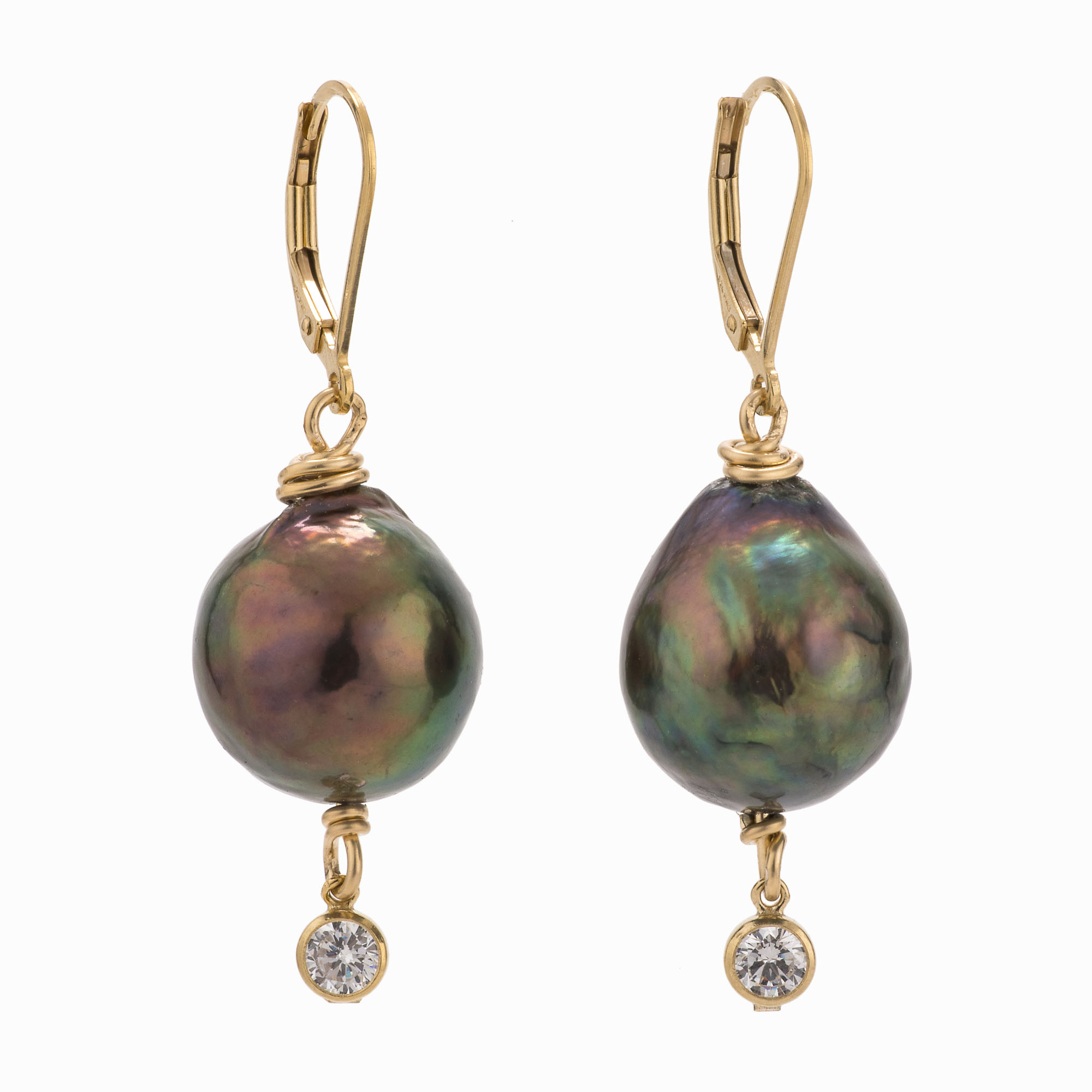 A pair of black fresh water pearl earrings with 14k gold-filled backs and crystal drops.
