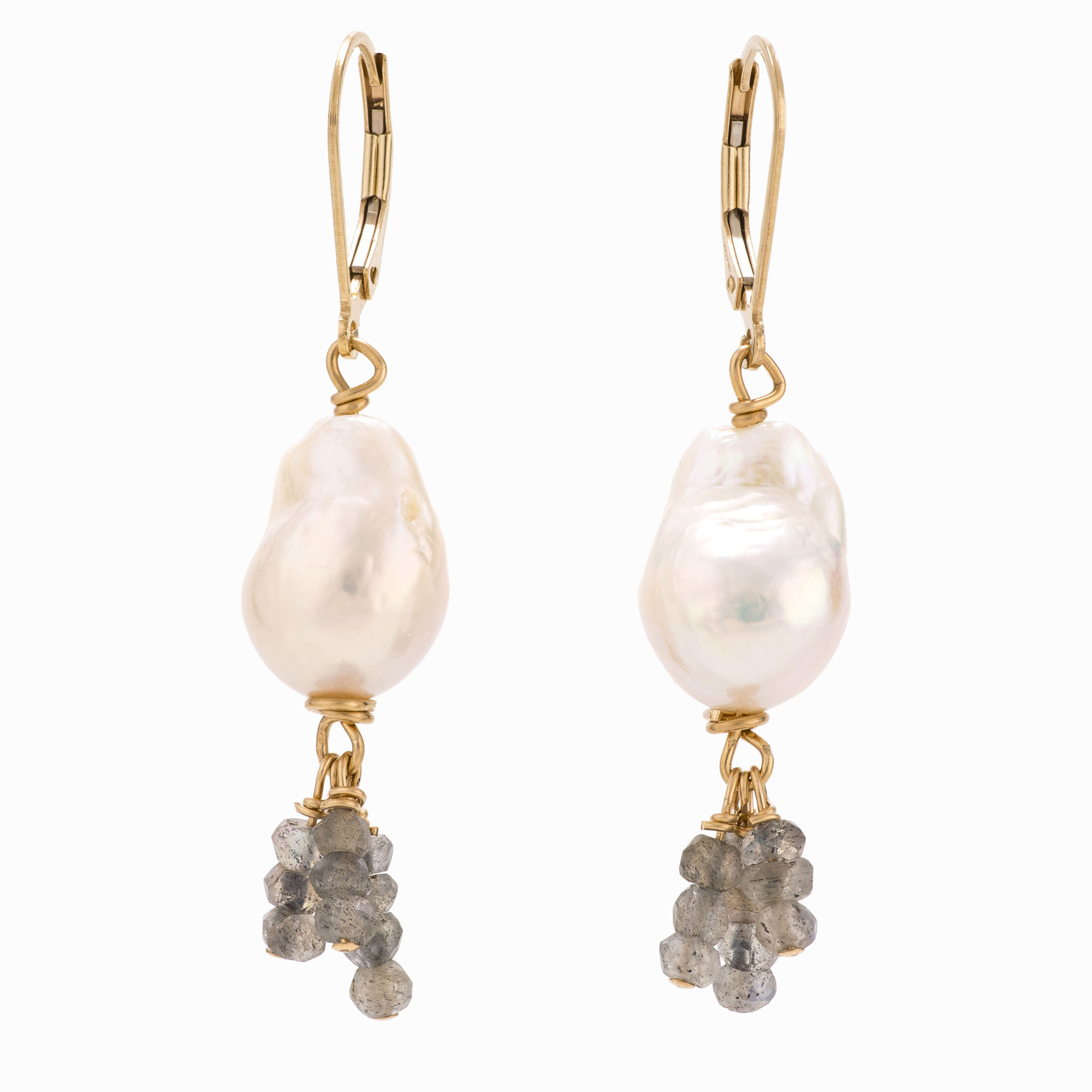 A pair of white pearl earrings with 14k gold-filled backs and labradorite beads.